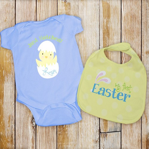 Personalized My First Easter Blue Creeper and Bib Set C07360X