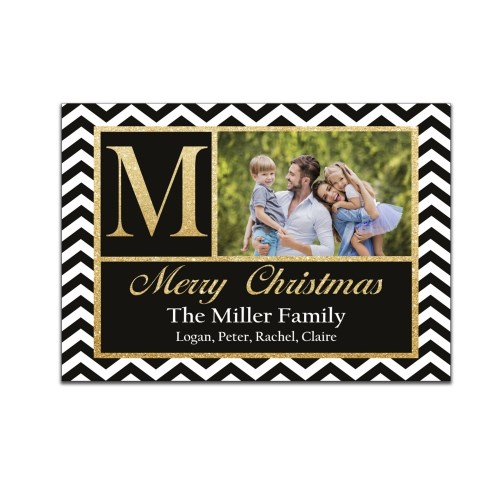 Chevron Monogram Photo Holiday Cards 1971410