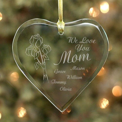 Personalized Heart of Love Glass Ornament 828144H