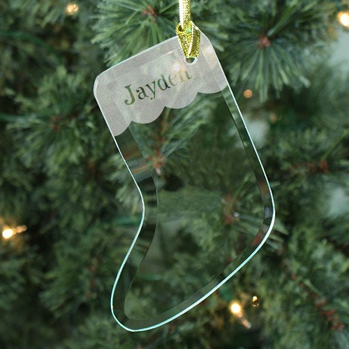 Engraved Glass Stocking Ornament 848034S