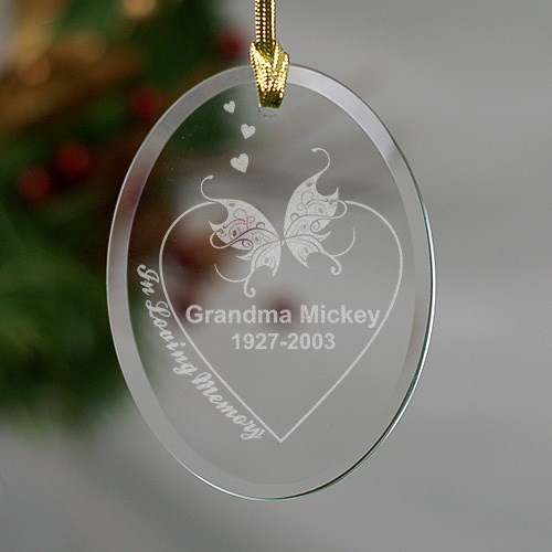 Engraved In Loving Memory Memorial Oval Glass Ornament 848114