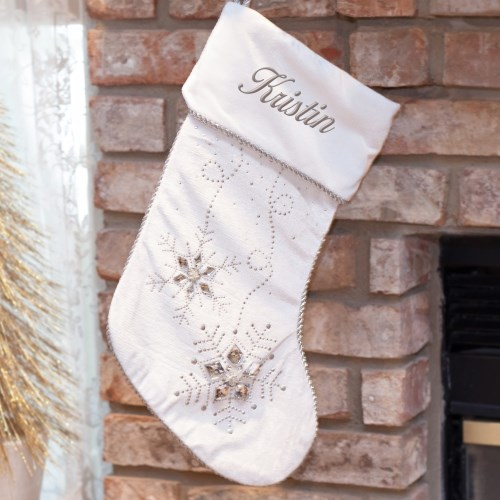 Personalized Jeweled Gray Christmas Stocking S97399
