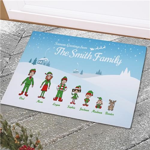 Personalized Holiday Character Doormat U99758X