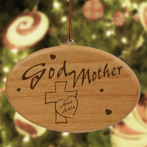 Engraved Godmother Wooden Oval Ornament W17392