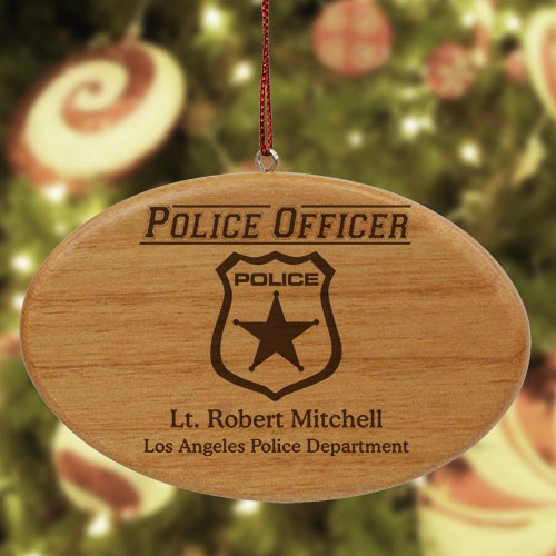 Engraved Police Officer Wooden Oval Ornament W27942
