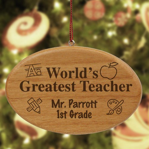 Engraved Teacher Wooden Oval Christmas Ornament W30252