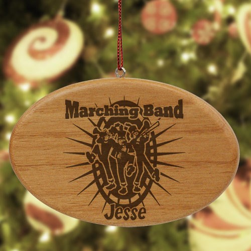 Engraved Marching Band Wooden Oval Ornament W37742