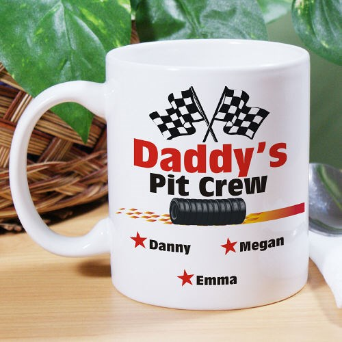 Personalized Pit Crew Coffee Mug for Dad