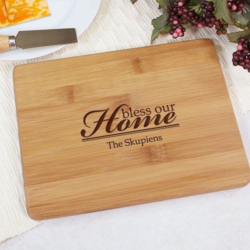Engraved Bless Our Home Bamboo Cheese Board L610529