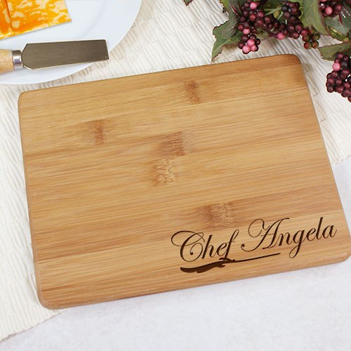 Engraved Chef Bamboo Cheese Board L616329