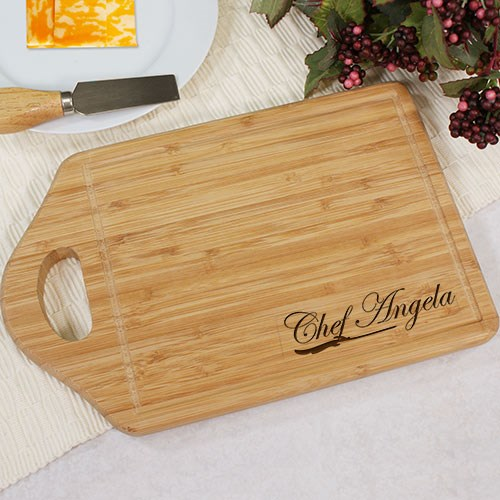 Engraved Bamboo Chef Cheese Carving Board L616330
