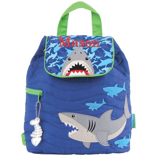 Quilted Shark Embroidered Backpack E000264