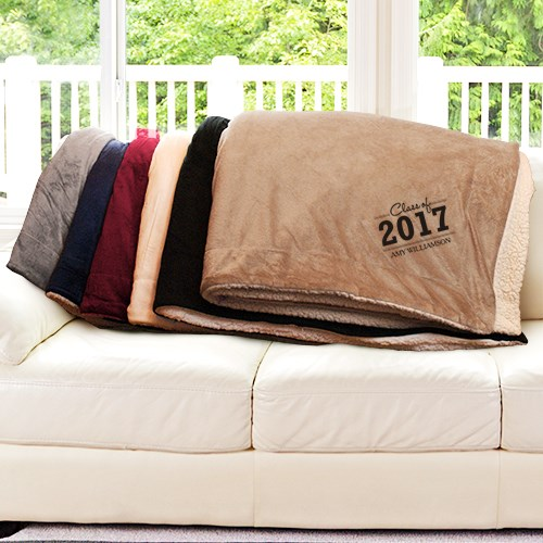 Graduate Embroidered Sherpa Blanket E9444184X