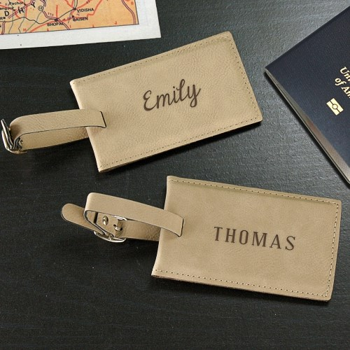 Engraved Any Name Leather Luggage Tag L9440120