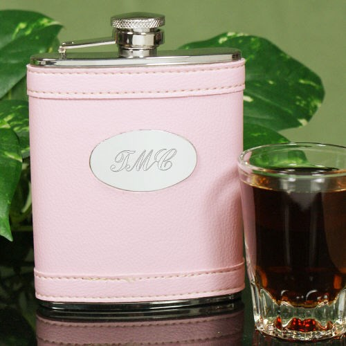 Pink Leather Personalized Flask