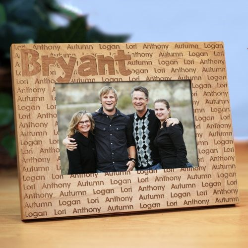 Family Name Personalized Wood Picture Frame | Personalized Father's Day Picture Frames