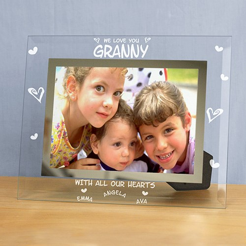 Engraved All Our Hearts Glass Picture Frame | Mother's Day Gifts