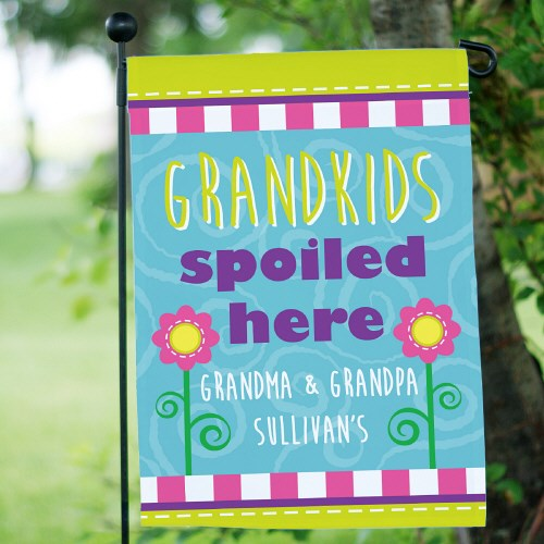 Personalized Grandparents Garden Flag  - Spoiled Here
