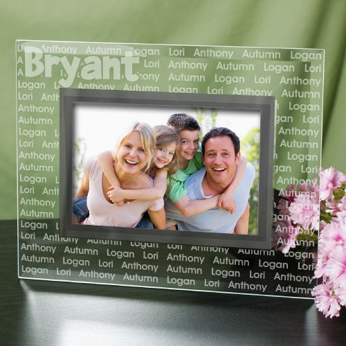 Personalized Family Name Glass Picture Frame