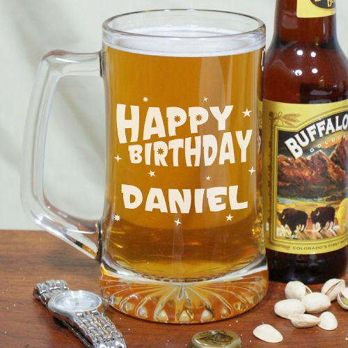 Engraved Happy Birthday Glass Mug