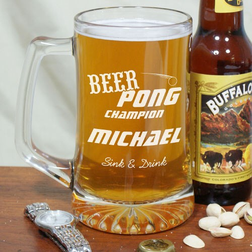Engraved Beer Pong Large Glass Beer Mug