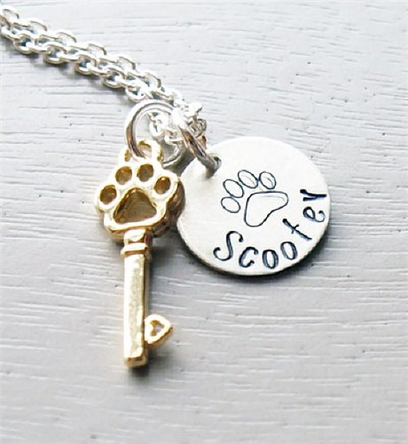 Paw Key To My Heart Hand Stamped Necklace DKCPETKEY