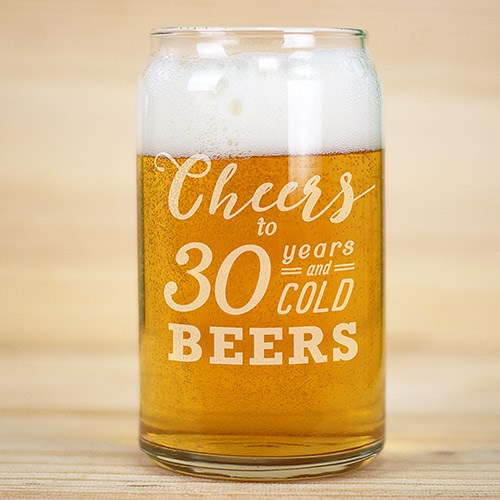 Engraved Cheers to Birthday Beer Can Glass L10502118