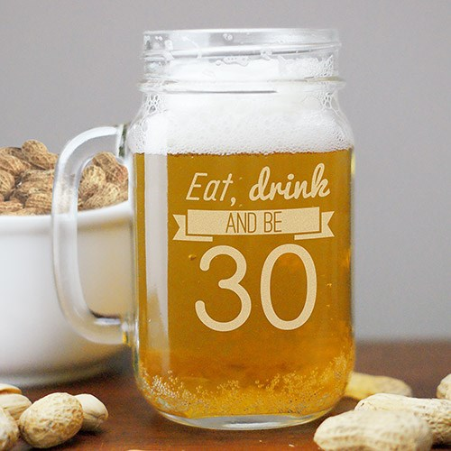 Engraved Eat, Drink Birthday Mason Jar L1052971