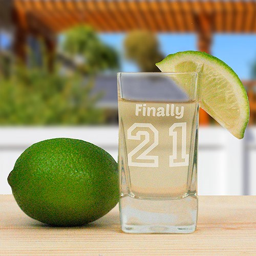 Engraved Birthday Message Square Shot Glass L10531178