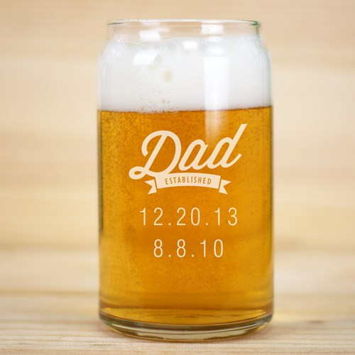 Personalized Dad Established Beer Can glass L9451118