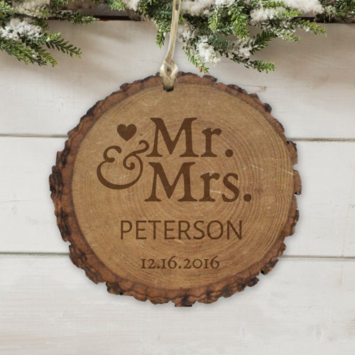 Personalized Mr. and Mrs. Round Rustic Wood Ornament L9825166