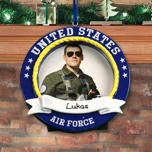 Personalized US Air Force Photo Frame Ornament M1076090