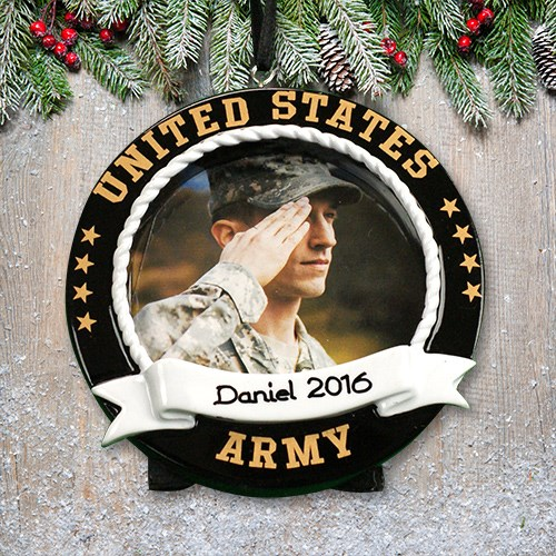 Personalized US Army Photo Frame Ornament | Christmas Ornaments Personalized