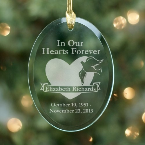 In Our Hearts Forever Memorial Personalized Oval Glass Ornament