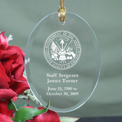 Personalized Army Memorial Glass Ornament Keepsake