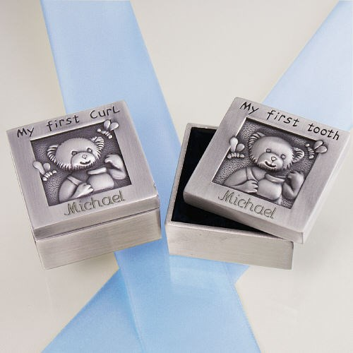 Engraved Baby First Curl and Tooth Silver Box Set