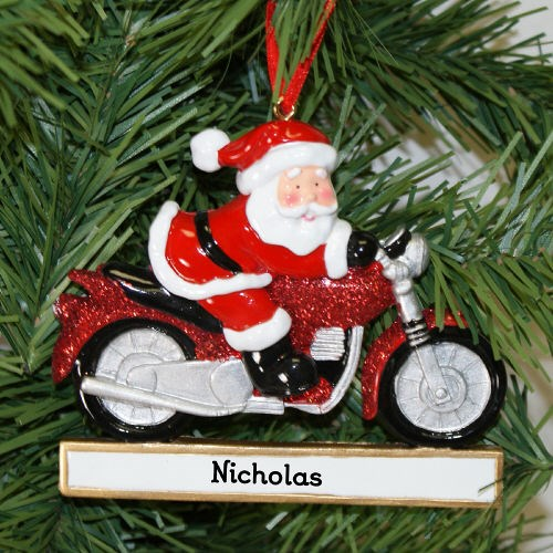 Santa Motorcylin' Personalized Ornament