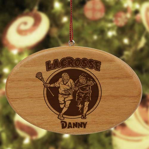 Engraved Lacrosse Wooden Oval Ornament W37752