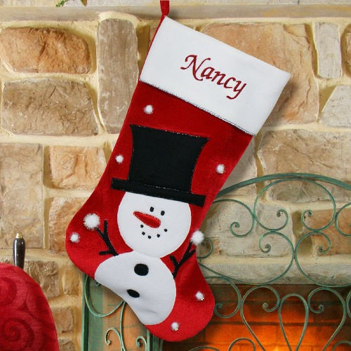 Embroidered Snowman Christmas Stocking S34659
