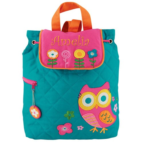 Quilted Owl Embroidered Backpack E000265