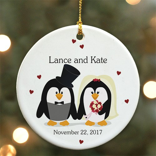 Personalized Ceramic Penguin Bride and Groom Ornament | Christmas Ornaments Personalized