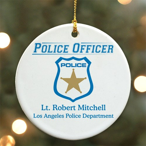 Personalized Police Officer Ceramic Ornament U279410