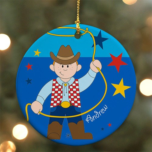Personalized Ceramic Cowboy Ornament U368310