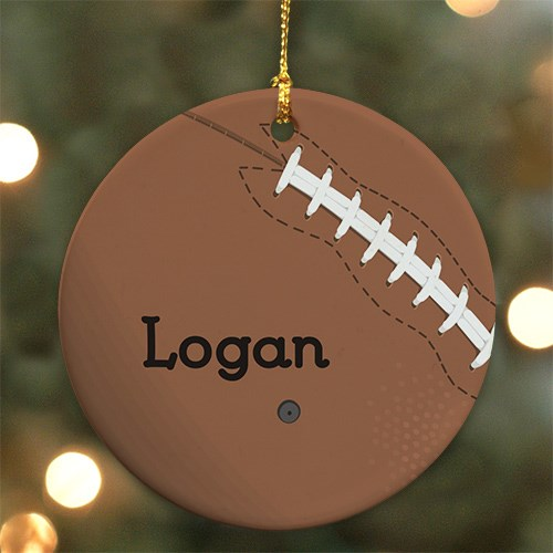 Personalized Ceramic Football Christmas Ornament U373010