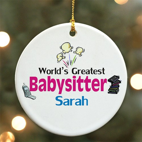 Personalized World's Greatest Babysitter Ceramic Ornament U374910