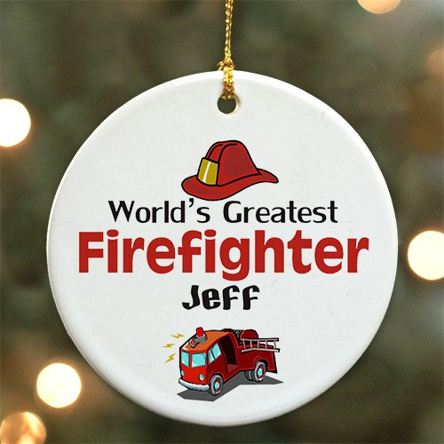 World's Greatest Firefighter Personalized Ceramic Ornament U375110