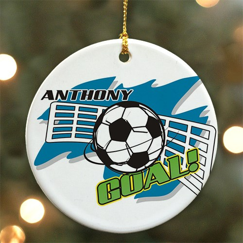 Personalized Ceramic Soccer Ornament U376610