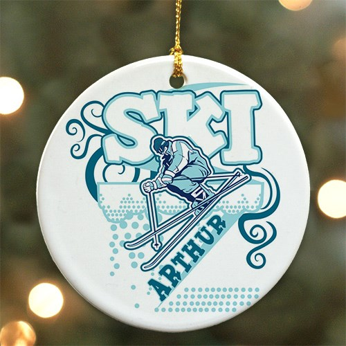 Personalized Ceramic Snow Skiing Ornament U377610