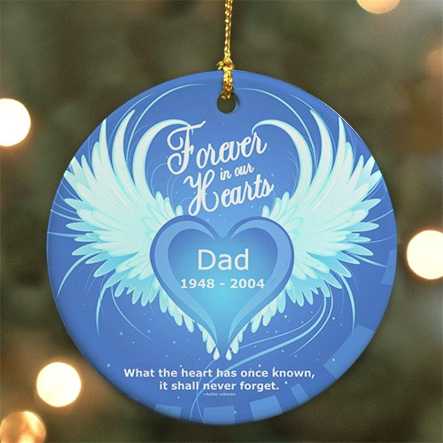 Personalized Ceramic Forever In Our Hearts Memorial Ornament U384110