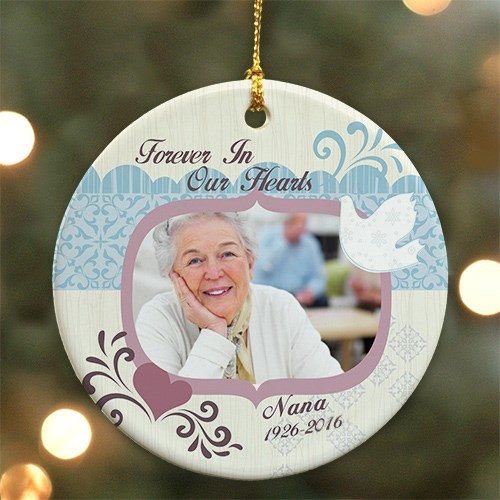 Personalized Ceramic Forever In Our Hearts Memorial Photo Ornament U44610